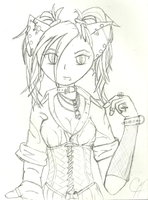 corsetted cat girl by RevRuby