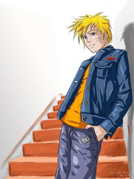 Naruto on Stairs by jadeedge