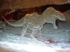 Tyrannosauras Rex Carved Glass by HunterGlass