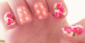 roses and polka dots nail art by clasped-shut