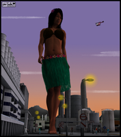 Giantess Hula Dancer in the City by blcksheep