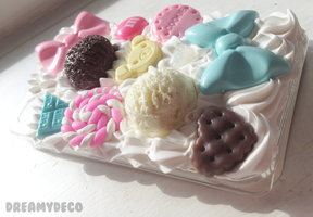 sugar coated rilakkuma whipped cream style decoden by dreamydeco