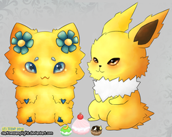 Joltik and Jolteon, Puff Date by Tesvp