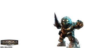Bioshock Big Daddy Wallpaper W/ Logo by SimpleWallpapers