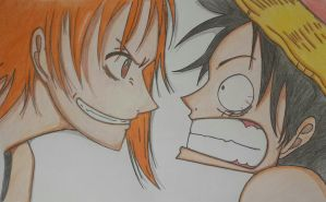 Nami vs Luffy by serenaleroux