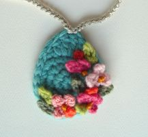 Crochet Turquoise Necklace by meekssandygirl