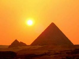 sunset over pyramids by harakti