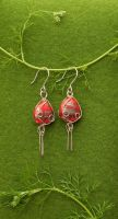 Red Glass Earrings by red20