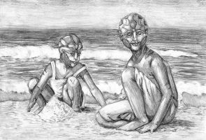 Memories - Thane and Annaremi are on the beach... by SubetaK