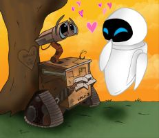 W: WALL-E and EVE by VivzMind