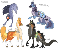 All my gryphon characters by griffsnuff