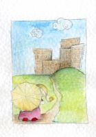 .yellow umbrella by immacola