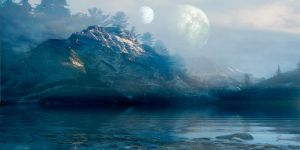 Fog Covered Lake And Mountains BG wide w/moons by scryer41
