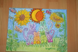 sunflowercats for a  valentine greeting by ingeline-art