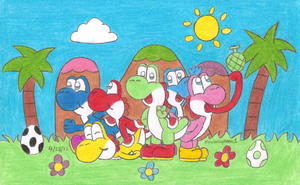 Group of Yoshis by MarioSimpson1