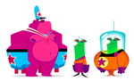 Pink Gorilla and Friends by mhannecke