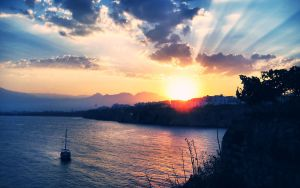 Antalya Sunset Wallpaper by cheyrek