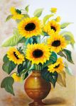 Sunflowers in vase by TeresaHandCraft
