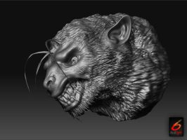 Werewolf Head made from a sphere in Zbrush by RedCyx