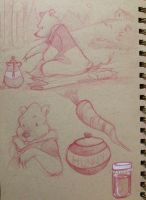 Pooh Bear sketch page by Qballthe5th