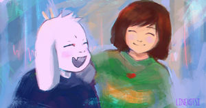 Sketch. Asriel and Chara by Linekotsi