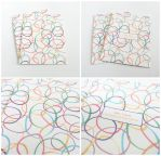 Set of 2 Colorful Overlapping Bubbles Blank Cards by crystaland