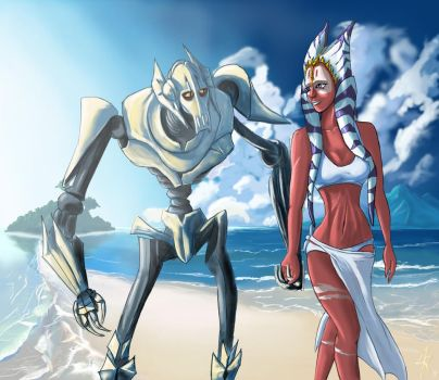 Grievous - Shaak Ti - Beach by Raikoh-illust