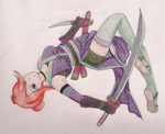 Leaping Kunoichi by DigiFoxCat
