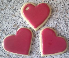 Valentines Cookies with Dark Pink Icing by AmysFoodVariation