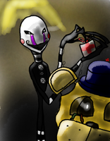 Puppet and Golden Freddy by DarkenedGroves