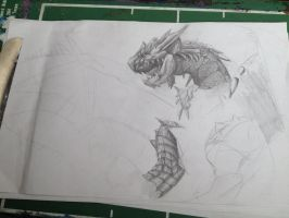 WIP 2 - Rathalos  by IfreakenLoveDrawing