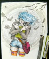 blue haired girl sketch vol.01 by rehAlone