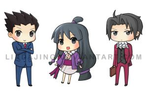 Ace Attorney Chibis by Lindajing