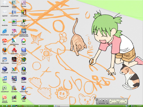 Desktop: Yotsuba + Cats by kichigo
