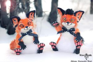 Brothers young foxes Yuki and Taro by Flicker-Dolls