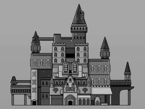 Pixelated Castle ~Composition in Black and White~ by lisfelip