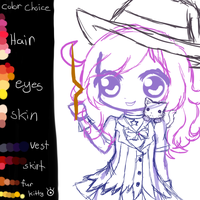 Witchy Quinn and Clemmy kitty WIP by IlluminatedFantasy