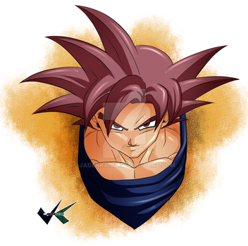 Fan Art : Super Saiyan God Goku by jadenkaiba
