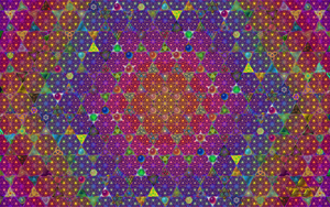Magic Triangles Mosaic Red Purple by 8DFineArt