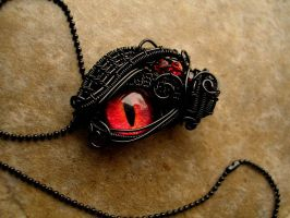 Custom - Black Wire Wrapped - Fire Dragon Eye by LadyPirotessa