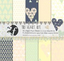 /// TRI HEART KIT in Green/Peach/Yellow/Navy /// by guava