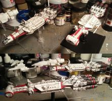 My 3d Corellian ships with Corvan ships in bkgnd by LoreleiStation