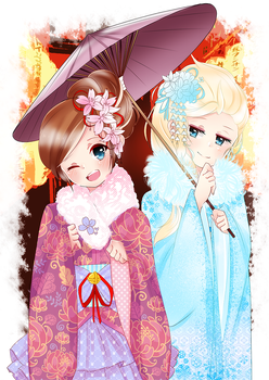 Kimonos: Anna and Elsa by enzouke