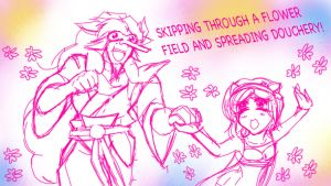 FLOWERS AND SPREADING DOUCHERY by CyberMisadventures