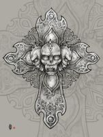 Demon's skull cross by AngELofREbellion