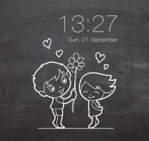 Love In The Air Clock for xwidget by jimking