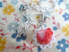 Strawberry jelly necklace by ochamelon