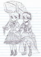 the Chocolate Bunny and the Ball-jointed Doll by bunnyb133