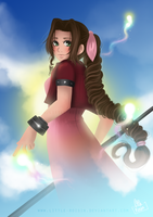 Aerith on a sending (Commission) by Little-Roisin