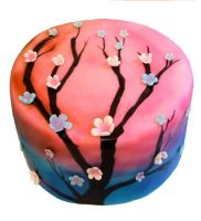 cherry blossom airbrush cake by scratchbakeshoppe